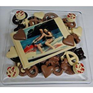 Chocolade glasschaal met foto kaart